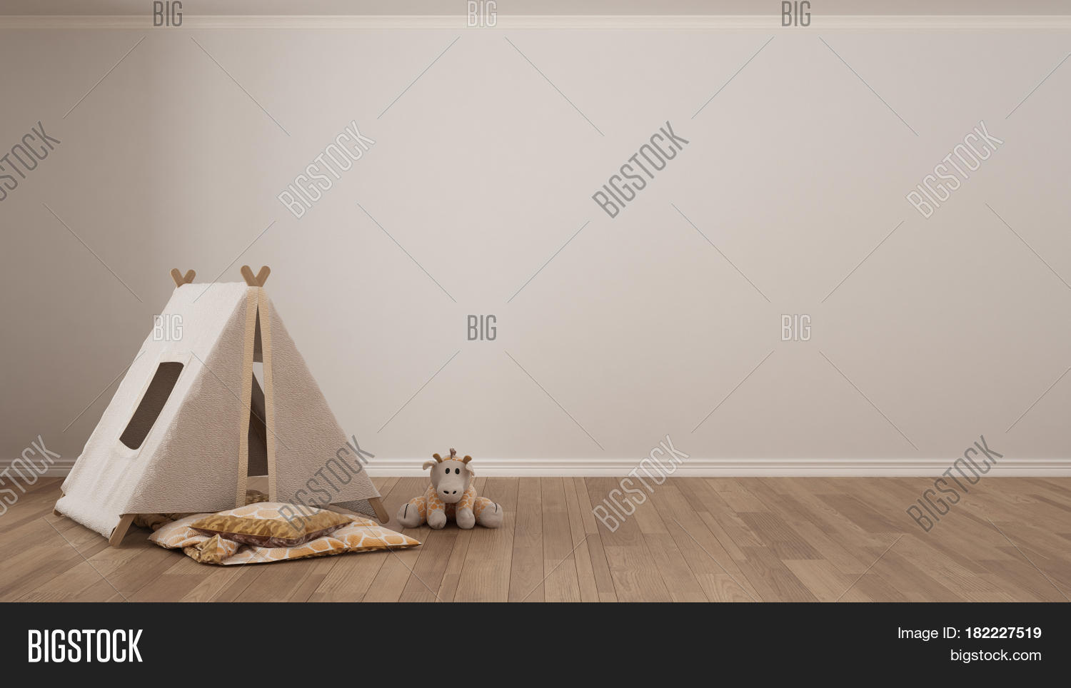 Kids minimalist white background with child tent blanket pillow and toy on parquet flooring child room : blanket tent floor - memphite.com