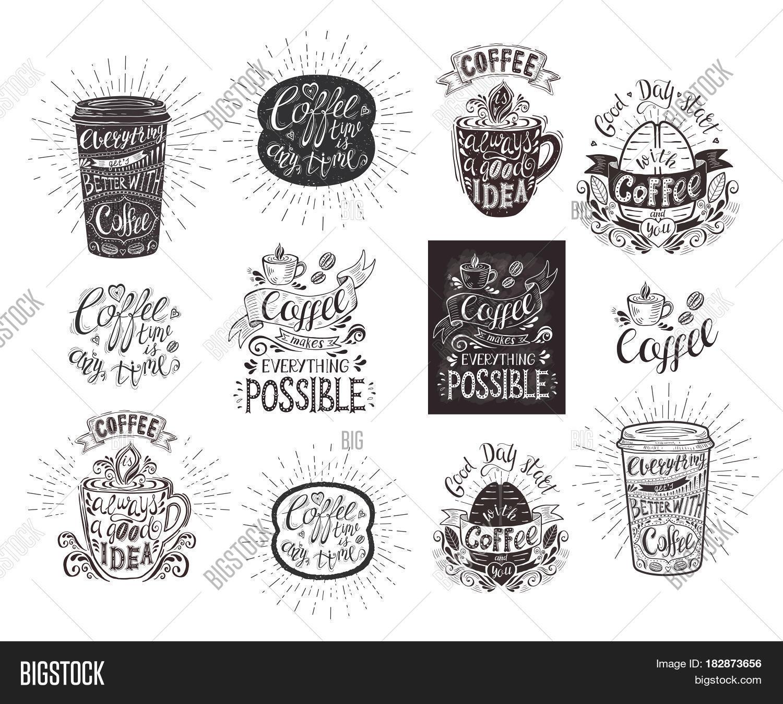 Set Coffee Quotes Image Photo Free Trial Bigstock