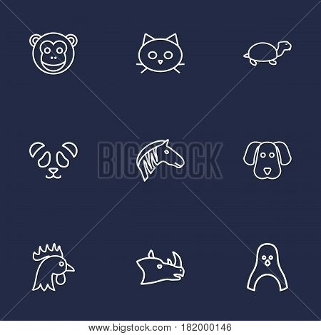 Set Of 9 Brute Outline Icons Set.Collection Of Feline Bear, Monkey, Dog And Other Elements.