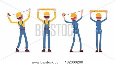 Set of male and female professional worker, wearing yellow protective hardhat, blue suit, doing measurement, planning with spirit level and tapeline, full length, rear view, isolated, white background