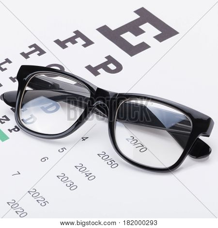 Table For Eyesight Test With Neat Glasses Over It - Close Up Studio Shot