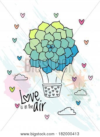 Hand drawn aerostat with succulent flower balloon vector. Love card design