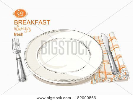 Green Empty plate on Vintage cloth napkin on white background. Empty plate with ivory-colored design with knife and fork. top view. vector illustration isolated on white