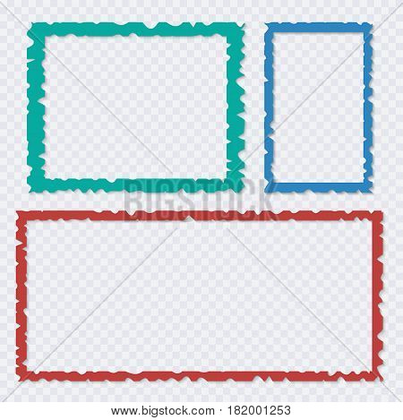 Set of color torn paper frames with shadows. Vector templates for design
