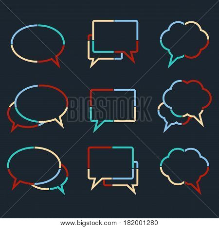 Speech bubbles linear icons of colorful dotted lines. Set of chat web icons. Flat design style vector illustration