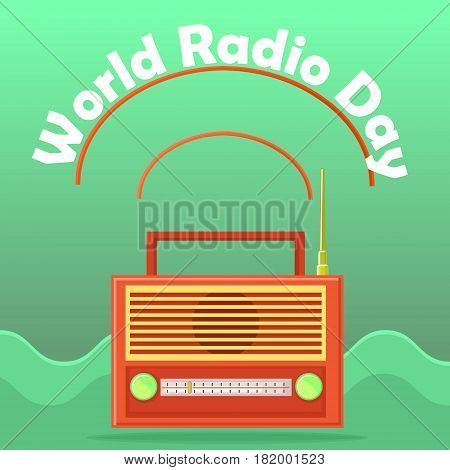 Web banner to the world radio day. Isolated on an abstract background radio receiver icon with an antenna and conditional radio waves. Retro. Vector Illustration.