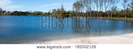 Beautiful scenery with a lake and a sandy beach