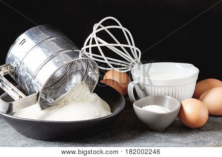 Ingredients For Pancakes, Flour, Milk, Eggs. Traditional For The