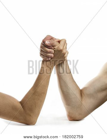 Сoncept of rivalry between two people. Image on white isolated background.