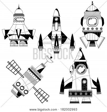 Set of 5 space toy rockets. Black and white. Spaceships. Vector illustration