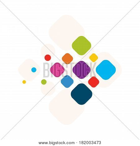 Icon flying colorful diamond abstract design of a logo or template, colorful rectangle business