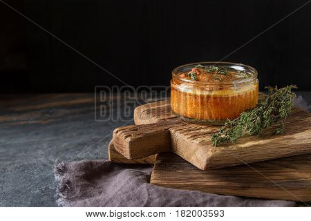 French Baked Cheese Souffle Close-up On A Table. Dark Background