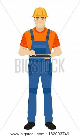 Builder using digital tablet PC. Full length portrait of builder in a flat style. Vector illustration.