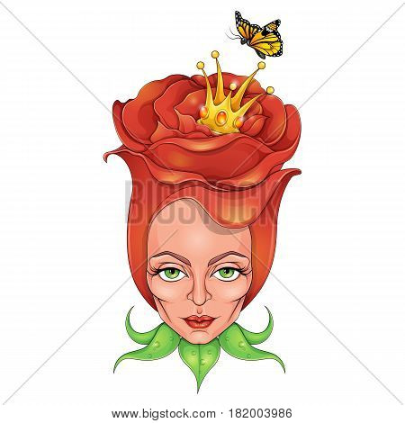 Imaginery rose girl with the crown and butterfly
