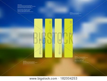 Illustration infographic template with motif of rectangle vertically divided to four standalone green sections. Blurred photo with natural motif landscape with cloudy sky is used as background.