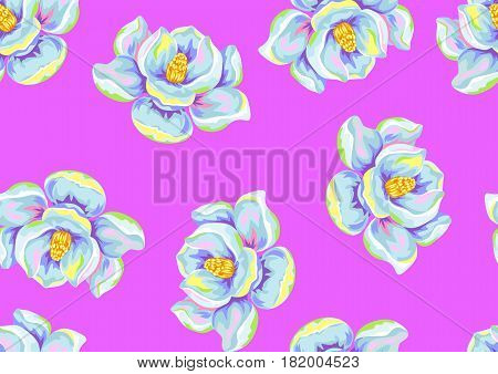 Seamless pattern with magnolia flowers. Decorative ornament.