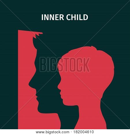 Concept of inner child. Silhouette of a man showing his inner child living in his mind. Flat design, vector illustration.