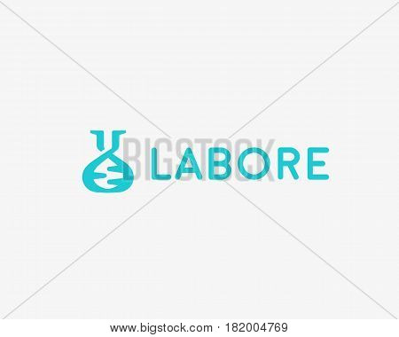 Lab vector logo. Flask dna mark logotype. Science education biotechnology symbol icon design.
