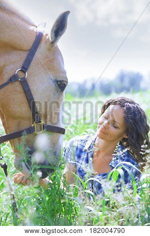 Woman and horse together at paddock. Vertical photo