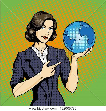 Business lady with planet Earth in hand. Stock vector illustration in pop art retro comic style