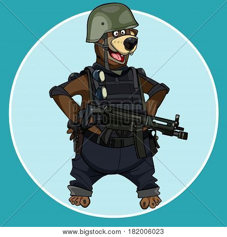 cartoon bear standing with arms akimbo in body armor with weapons