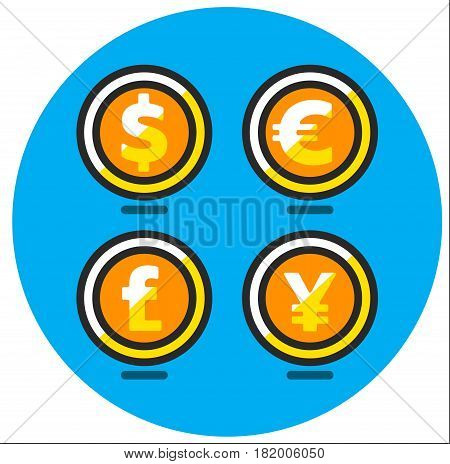 Main currencies symbols represented as wooden coins. Dollar, Euro, Pound and Yen