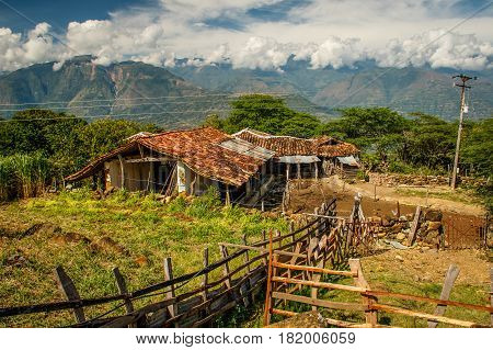 Hard life in countryside along the Camino real leading from town of Barichara to Guane village Colombia