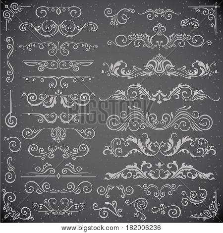 Dark Vector set of Swirl Elements for Frame Design. Vector Calligraphic Design Elements for page decoration, Labels, banners, antique and baroque Frames and floral ornaments. Wedding Decoration