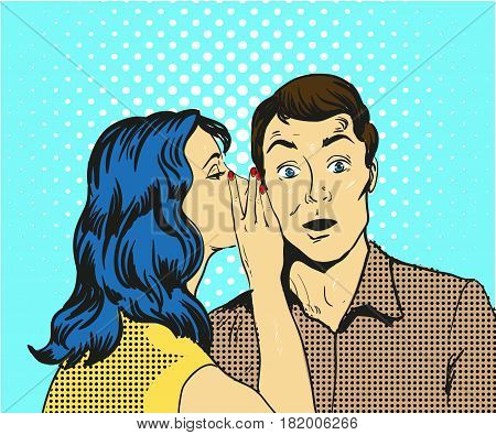 Man and woman whisper pop art vector illustration comic