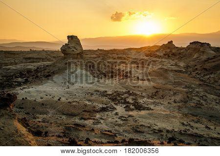 The hot sunrise in Tatacoa desert Colombia