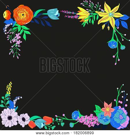 Vector rustic flowers composition. Bright spring flowers bouquet. Hand drawn vibrant flowers for wedding invtations and greeting cards.