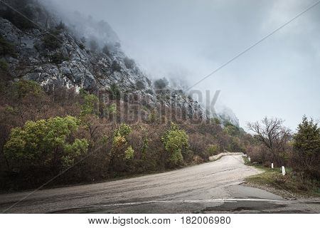 Mountain Road In Foggy Day, Rainy Landscape