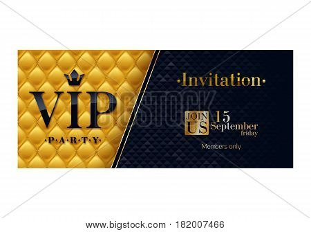 VIP party premium invitation card poster flyer. Black and golden design template. Quilted yellow pattern decorative background.