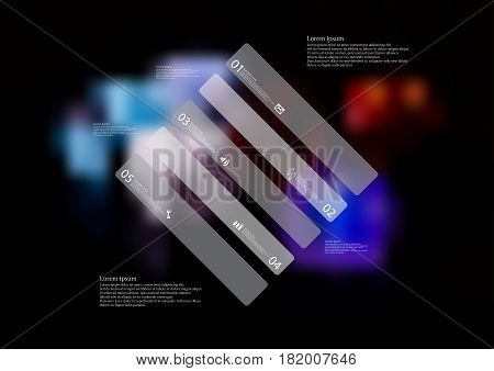 Illustration infographic template with motif of rhombus askew divided to five standalone grey sections. Blurred photo with colorful game dices motif on black board is used as background.