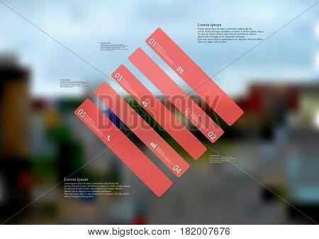 Illustration infographic template with motif of rhombus askew divided to five standalone red sections. Blurred photo with city motif with crossroad of streets is used as background.