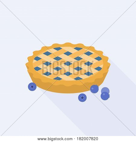 Blueberry pie with blueberries, flat design with long shadow