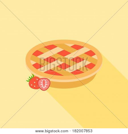 Strawberry pie with strawberries, flat design with long shadow