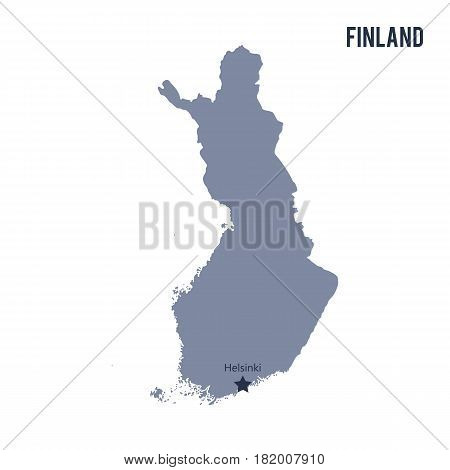 Vector map of Finland isolated on white background. Travel Vector Illustration.