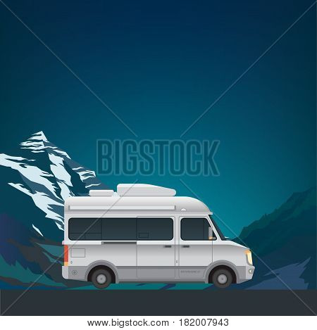 Beautiful mountain landscape with modern small size camper van motor home. New flat realistic style. Poster or banner for your web design. Vector illustration.