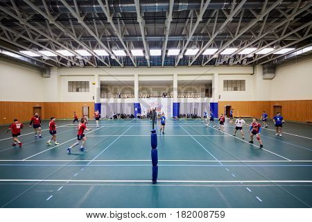 MOSCOW, RUSSIA - OCT 26, 2016: Volleyball game between Moscow State University and Moscow State Academy of Physical Culture at sports playground of Lomonosovsky building of MSU.