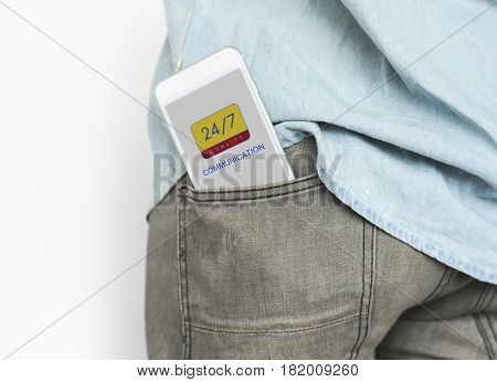 Digital mobile smart phone inside a pocket