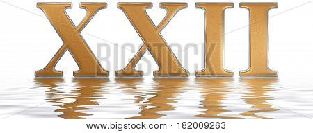 Roman Numeral Xxii, Duo Et Viginti, 22, Twenty Two, Reflected On The Water Surface, Isolated On  Whi