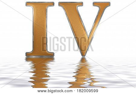 Roman Numeral Iv, Quattuor, 4, Four, Isolated On White Background, 3D Render