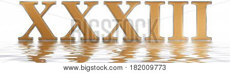 Roman Numeral Xxxiii, Tres Et Triginta, 33, Thirty Three, Reflected On The Water Surface, Isolated O