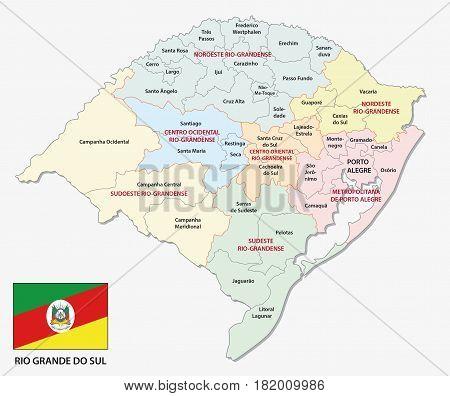 Rio Grande do Sul administrative and politicaln map with flag