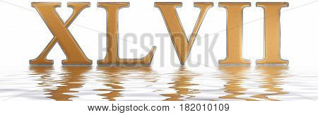 Roman Numeral Xlvii, Septem Et Quadraginta, 47, Forty Seven, Reflected On The Water Surface, Isolate