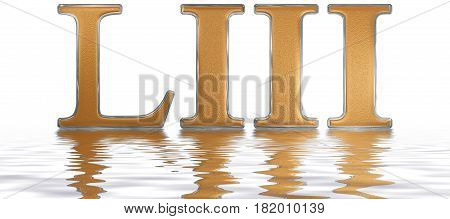 Roman Numeral Liii, Tres Et Quinquaginta, 53, Fifty Three, Reflected On The Water Surface, Isolated