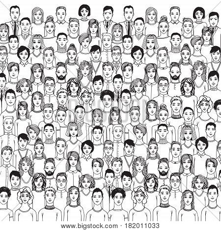 The crowd of abstract hand drawn people, line style.