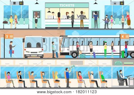 Bus interior set. Seat in the bus, bus stop and buying tickets.