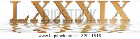 Roman Numeral Lxxxix, Novem Et Octoginta, 89, Eighty Nine, Reflected On The Water Surface, Isolated